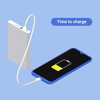 Изометрические телефон зарядки и концепция питания банка.