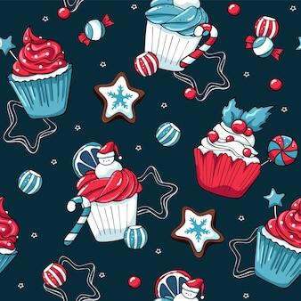 クリスマスのカップケーキやお菓子ベクトルのシームレスパターン