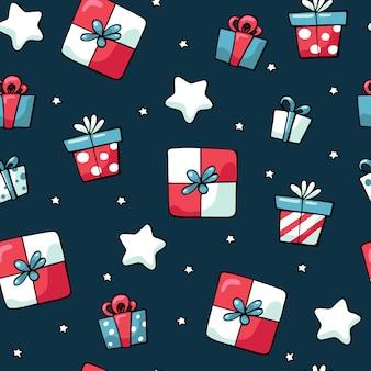 かわいい落書きクリスマス色のプレゼントのシームレスパターン