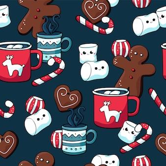 冬のクリスマスのお菓子と熱い飲み物のシームレスパターン