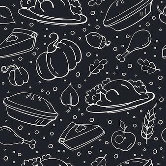 黒板に感謝祭のシームレスパターン