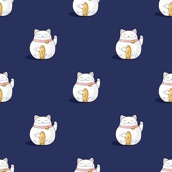 マネキネコ猫シームレスなベクターパターン
