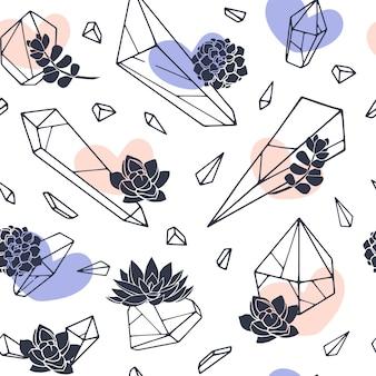 Набор рисованной линии искусства минералов