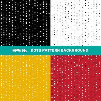 白、黒、黄色、赤の背景にランダムなサイズの抽象的な幾何学的なドットパターン円のセットです。