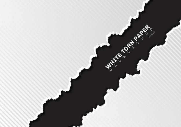シャドウブラックの背景を持つ白い引き裂かれた紙の端