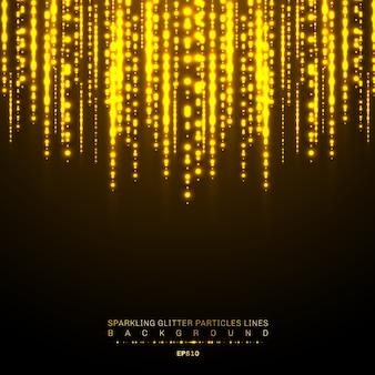 ゴールドライト光沢のある垂直線が輝く背景