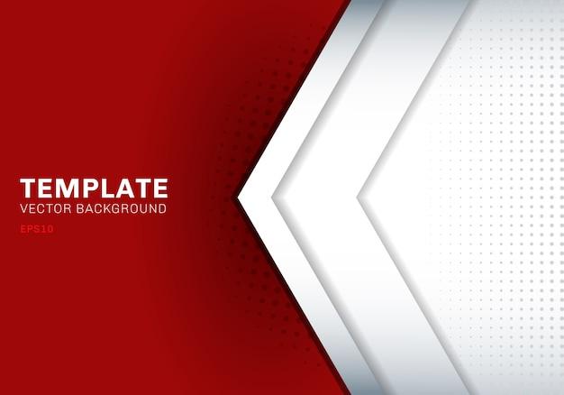 赤い背景の上に重なるテンプレート白い矢印