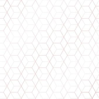 ピンクゴールドの幾何学的な六角形模様の白い背景
