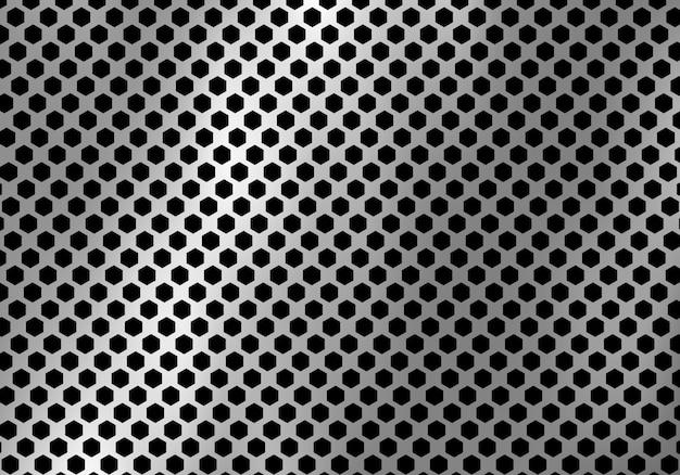 抽象的な銀の金属の背景の六角形パターンの質感