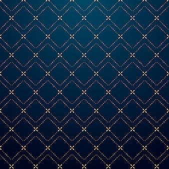 抽象的な幾何学的な正方形ゴールドダッシュラインパターン