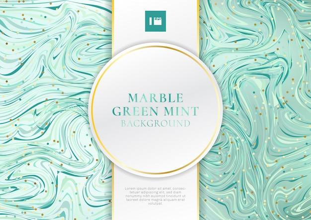 ラベルと緑のミントの大理石の背景