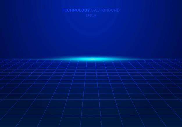 抽象デジタル技術の正方形のグリッドパターン青背景