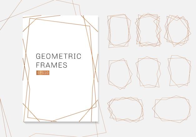 ゴールドの幾何学的な多面体フレームコレクションの高級テンプレート