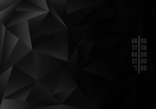 抽象的な低ポリゴン黒背景。