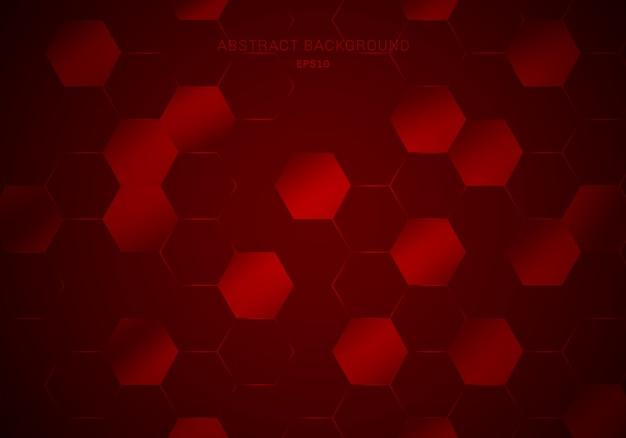 抽象的な幾何学的な赤い六角形パターン背景