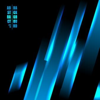 Абстрактный синий свет линии технологии черный фон.