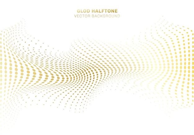Абстрактная волна искажает золотой узор точек полутонов