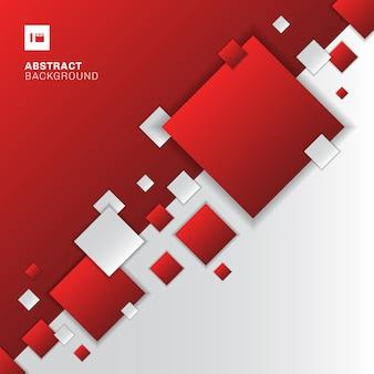 Абстрактный красный и белый фон геометрических квадратов