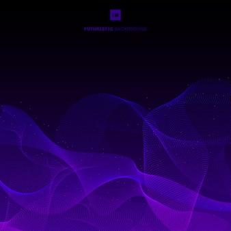 抽象的な紫の点線波黒背景