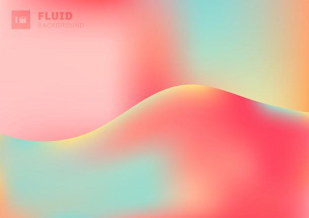 テキスト用のスペースとトレンディな流体鮮やかな色グラデーション波形状背景。