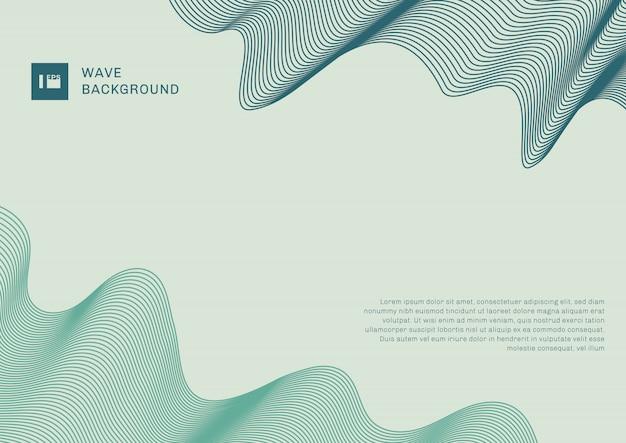テキストのスペースを持つ抽象的な現代的な背景の青と緑の波線要素。