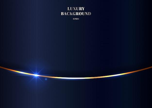 抽象的なエレガントなゴールドカーブライン光沢のある青色の背景