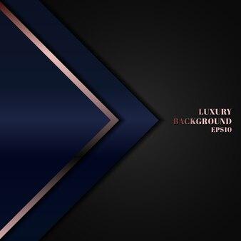 ピンクゴールドラインの背景を持つ抽象的な青い幾何学的な三角形。