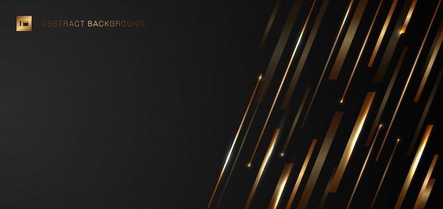 抽象的な黄金の光沢のある斜めストライプライン黒背景。