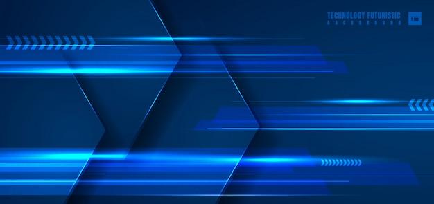 Абстрактная технология синий геометрический шестиугольник фон.
