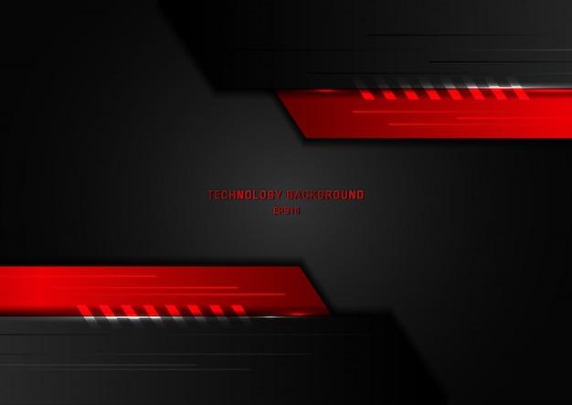 抽象的な技術の幾何学的な黒と赤