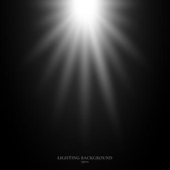 黒の背景に抽象的な光バースト。