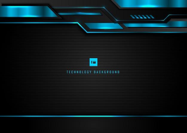 抽象的なテクノロジーの幾何学的な黒と青の輝く光