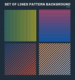 カラフルな線パターン背景とテクスチャのセット