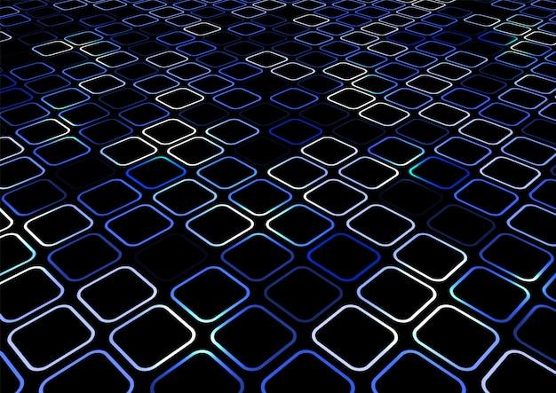 抽象的な青い正方形の境界線の視点の背景