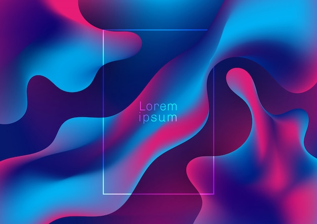 抽象的な青と紫の流体グラデーション形状の背景