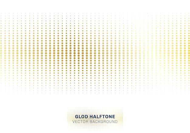 Абстрактный золотой узор полутоновых точек на белом фоне
