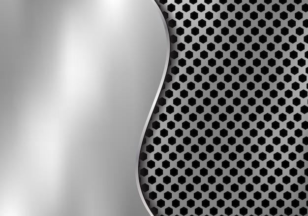 六角形のパターンから作られた抽象的な銀の金属の背景