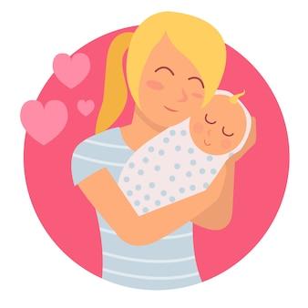 Иллюстрация молодой матери и ее новорожденного ребенка