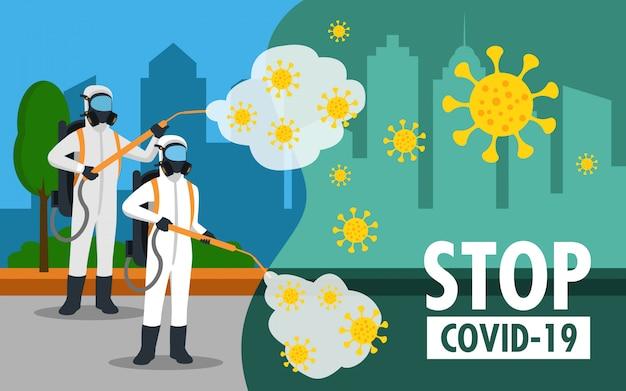 Специалист по очистке костюма хазмат дезинфицирующий коронавирус на улице