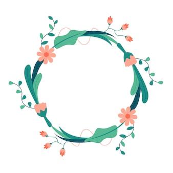 Круглый цветок и лист векторная иллюстрация