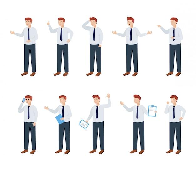 Набор бизнесмен персонажа с различной позой и выражением, векторная иллюстрация