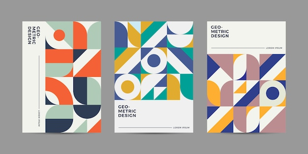 レトロな幾何学的なカバーデザイン