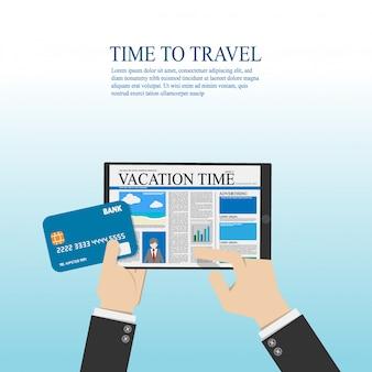 ビジネスマンは、旅行情報についての読書とクレジットカードを手で押しのためにデジタルタブレットを使用します。ベクトルイラストフラットデザイン