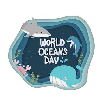 世界海洋デー。世界の海洋を保護し、そして保全するのを助けることに捧げられたお祝いのための海洋生物のベクトル
