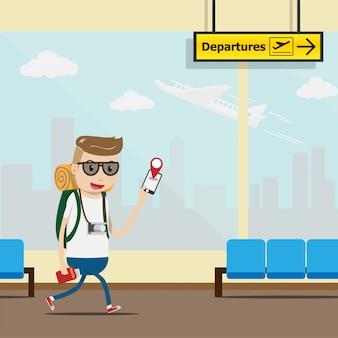 観光客が空港ターミナルでチェックインするためのモバイルアプリケーションを使用する
