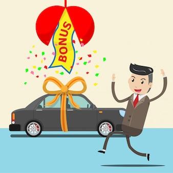 幸せな従業員がサプライズボーナスとして新車を受け取る