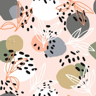 ベクトロのミニマリストの素朴な植物と斑点。シームレスなパターン。