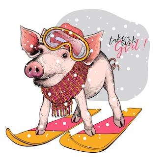手描きの豚
