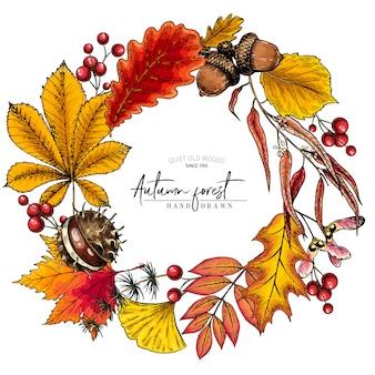 手描きの秋の葉。ベクトルカラフルな花輪