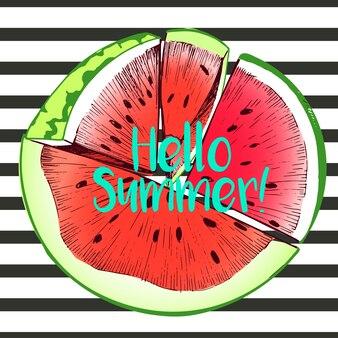 Иллюстрация арбуза. ручная работа. состав круглой границы. привет лето.